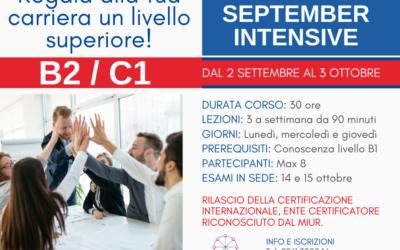Aperte le iscrizioni al corso September Intensive B2/C1