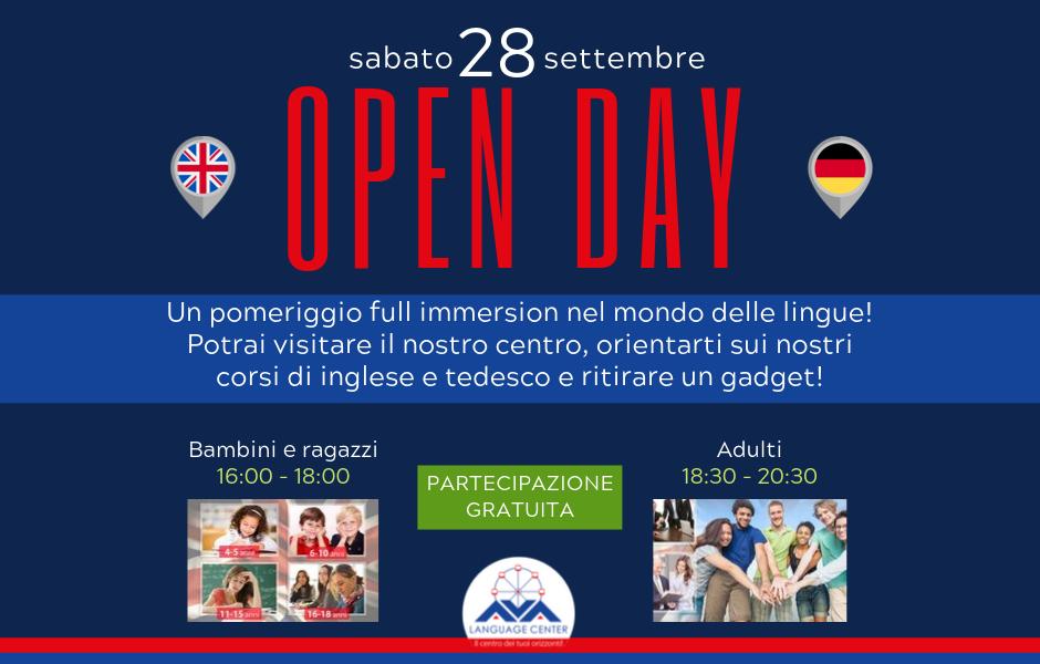 Sabato 28 settembre ti aspettiamo al nostro Open Day!